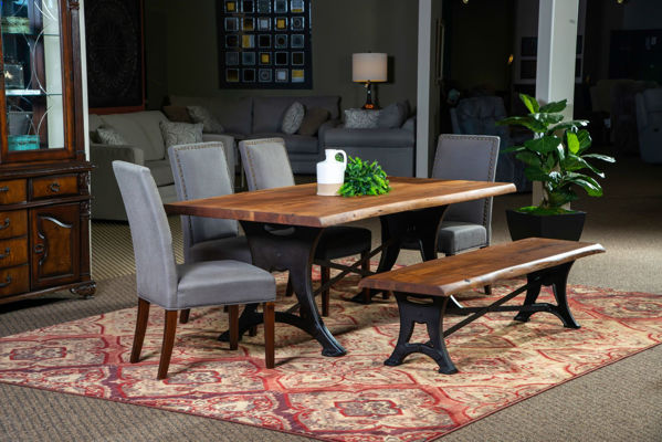 Picture of RUSTIC FORGE LIVE EDGE RECTANGULAR DINING SET