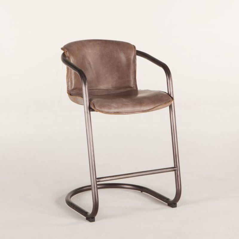 Picture of ANNECY JET BROWN LEATHER COUNTER HEIGHT CHAIR
