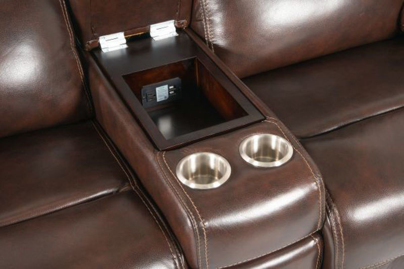 Picture of COFFEE ALL LEATHER POWER RECLINING LOVESEAT