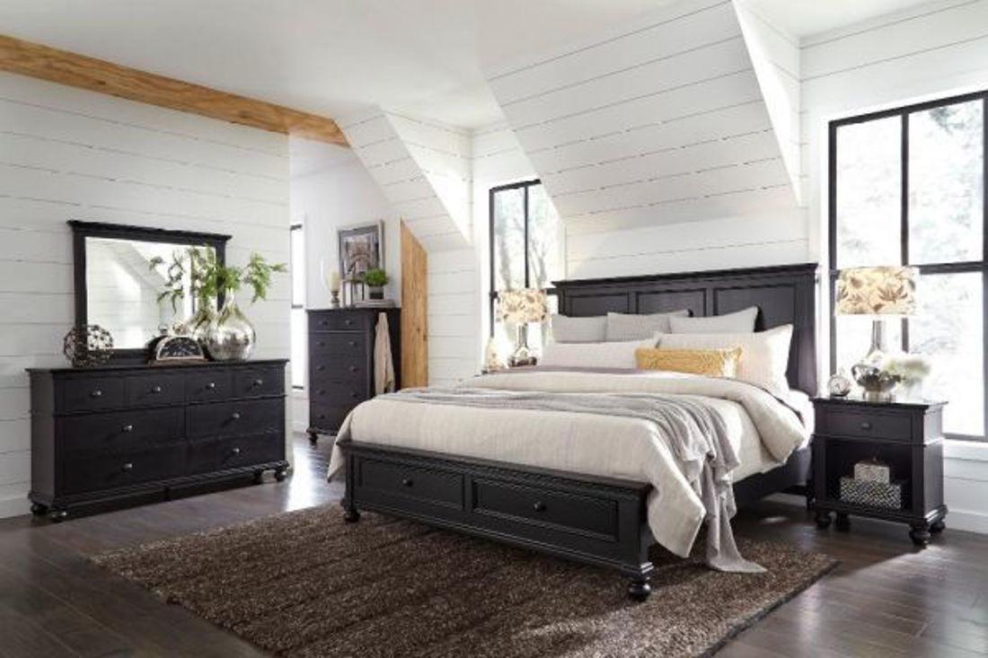 Picture of OXFORD BLACK QUEEN PANEL STORAGE BEDROOM SET