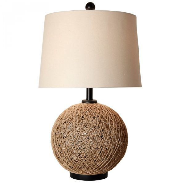 Picture of WOVEN RATTAN BALL TABLE LAMP