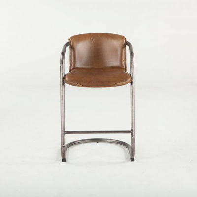 Picture of ANNECY CHESTNUT LEATHER COUNTER HEIGHT CHAIR