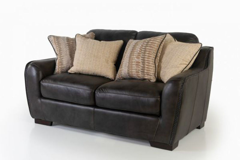 Picture of LUXE COAL ALL LEATHER LOVESEAT