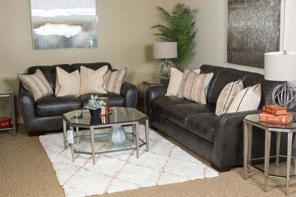 Picture of LUX COAL ALL LEATHER LIVING ROOM SET