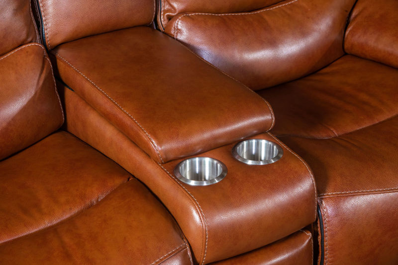 Picture of STAMPEDE CHESTNUT LEATHER POWER RECLINING SET