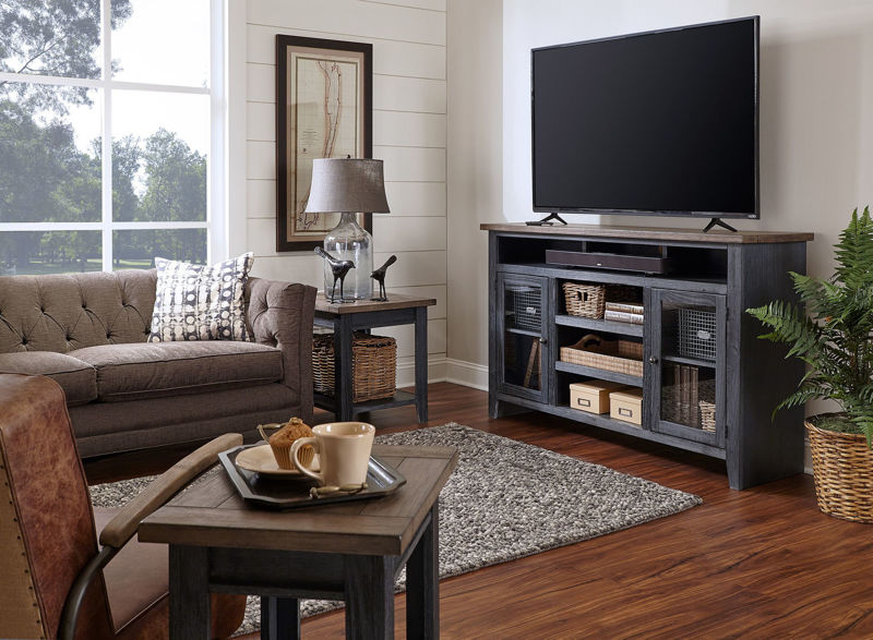 """Picture of EASTPORT 65"""" DRIFTED BLACK HIGHBOY TV CONSOLE"""