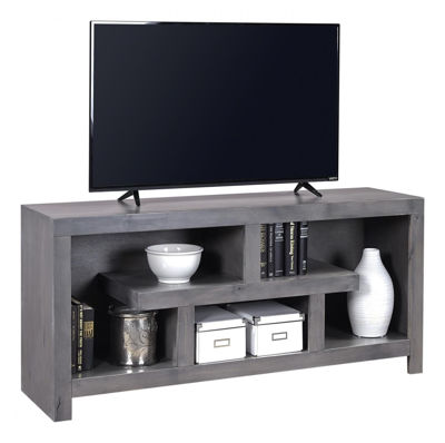 "Picture of CONTEMPORARY ALDER 60"" SMOKEY GRAY OPEN TV CONSOLE"
