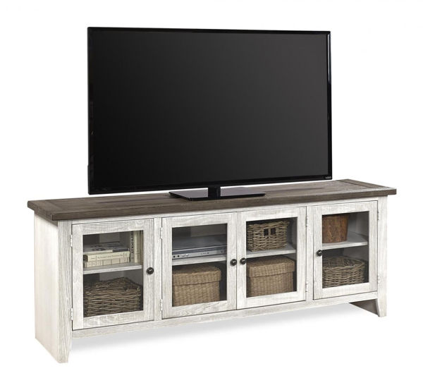 "Picture of EASTPORT 74"" DRIFTED WHITE TV CONSOLE"