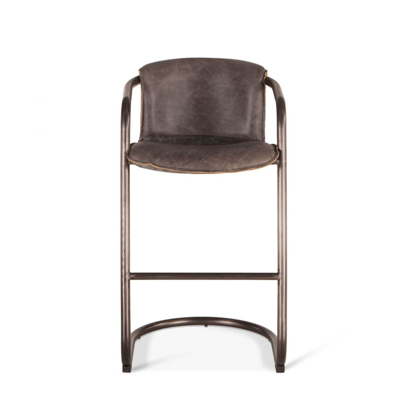 Picture of ANNECY ANTIQUE EBONY LEATHER BAR CHAIR