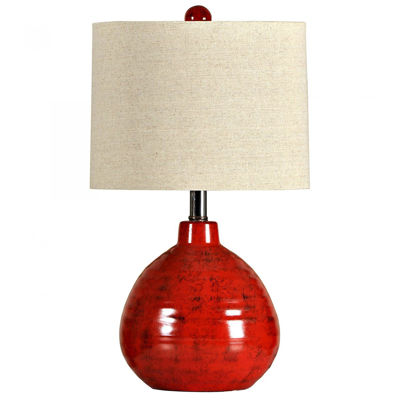 Picture of APPLE RED CERAMIC TABLE LAMP