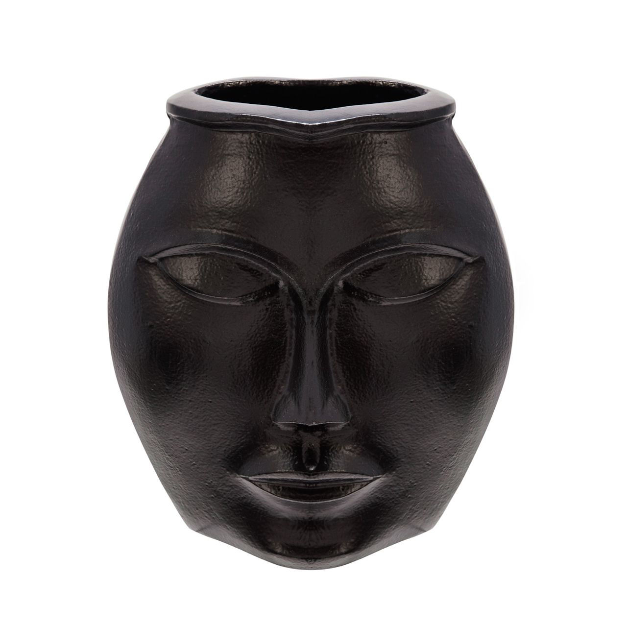Picture of BLACK METAL DECORATIVE FACE VASE